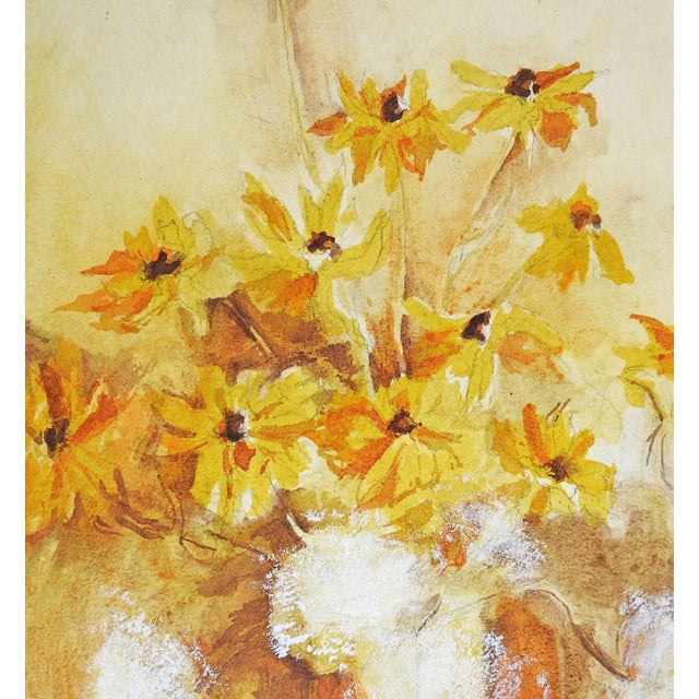 Image of Yellow Daisies Still Life Watercolor Painting