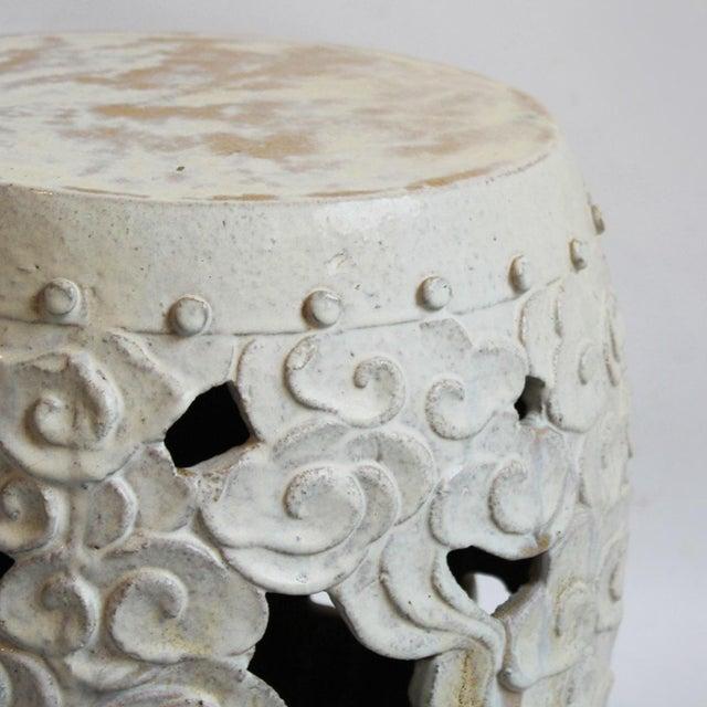 Image of Asian Modern White Ceramic Garden Stool