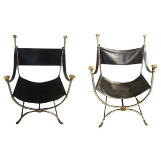 Maison Jansen Steel and Brass Savonarola Chairs - a Pair