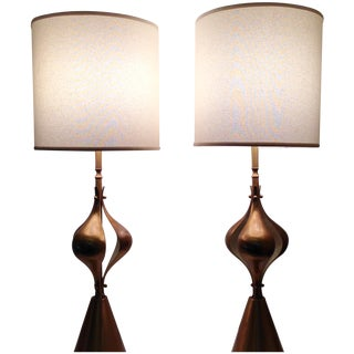 Vintage Sculptural Brass Lamps - A Pair
