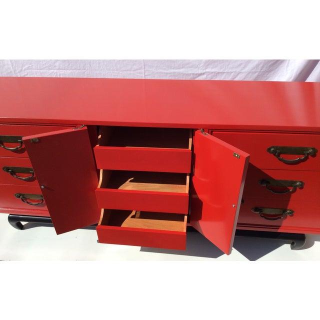 American of Martinsville Vintage Asian Red Dresser - Image 6 of 11