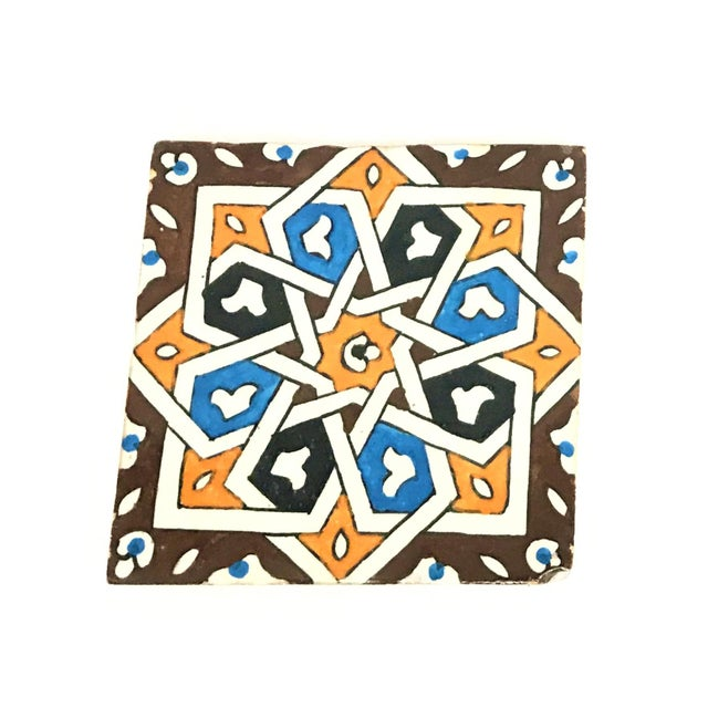 Hand Painted Large Moroccan Decorative Cement Tile - Image 2 of 2