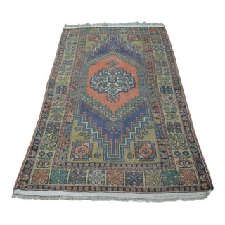 Antique Handwoven Faded Rug - 3′8″ × 6′7″