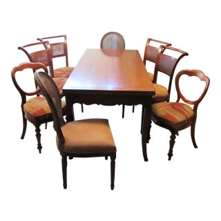 French Country Solid Cherry Dining Table & Chairs - Set of 9