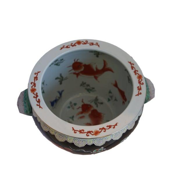 Vintage black chinese fish bowl planter chairish for Chinese fish bowl