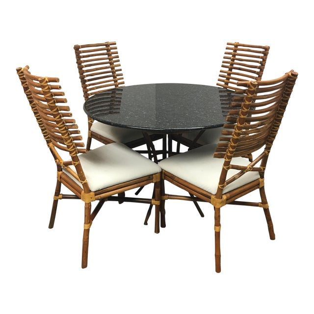 Granite & Rattan Dining Table & Chairs - Image 1 of 9