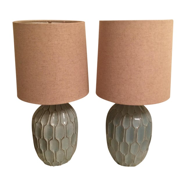 West Elm Handmade Ceramic Lamps - A Pair - Image 1 of 9