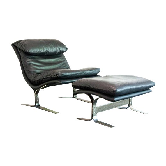 Vintage Leather Lounge Chair & Ottoman - Image 1 of 3