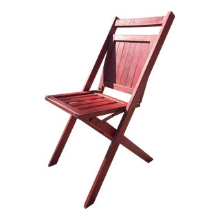 Vintage Red Wooden Folding Chair