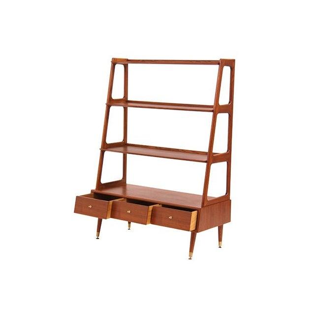 mid century modern walnut shelving unit chairish. Black Bedroom Furniture Sets. Home Design Ideas