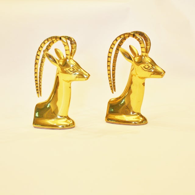 Vintage Brass Ibex Bookends - Pair - Image 2 of 4