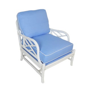 Ficks Reed Blue & White Rattan Lounge Chair