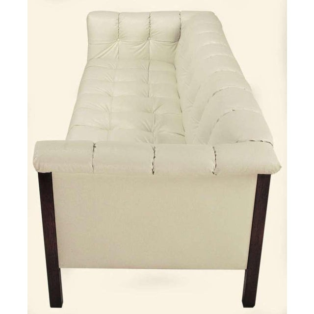 Rare Bert England Button-Tufted White Ostrich Texture Sofa - Image 3 of 8
