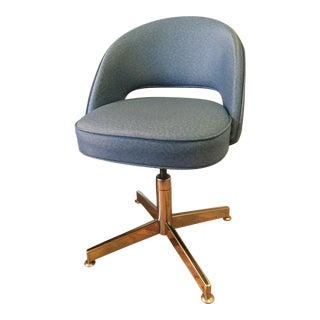 Blue Vinyl Executive Armless Chair With Chrome Base