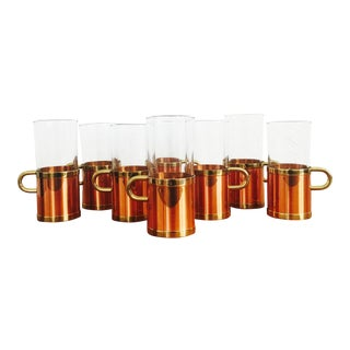 Vintage Irish Coffee Mugs with Copper Holders - Set of 8