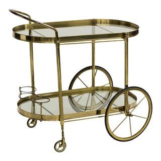 Italian Mid Century Modern Brass & Glass Service Cart, Circa 1960