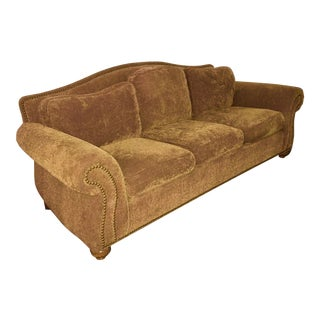 Beautiful Golden Brown Ethan Allen Sofa Detailed With Rows of Nail Head Trim
