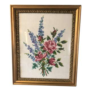 Vintage Framed Needlepoint of Roses