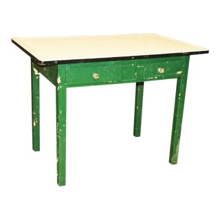 Vintage Shabby Chic Green Painted Granite Top Farm Table