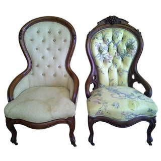 Victorian Parlor Chairs - A Pair
