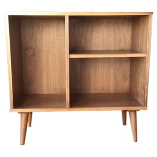 Mid-Century Custom Walnut Bar Record Cabinet