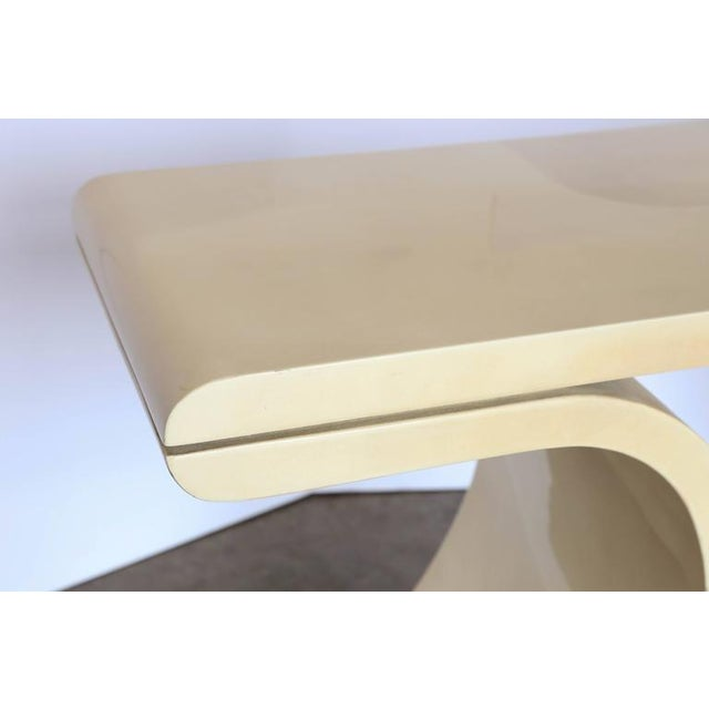 Lacquered Goat Skin Console Table in the Manner of Karl Springer - Image 5 of 6