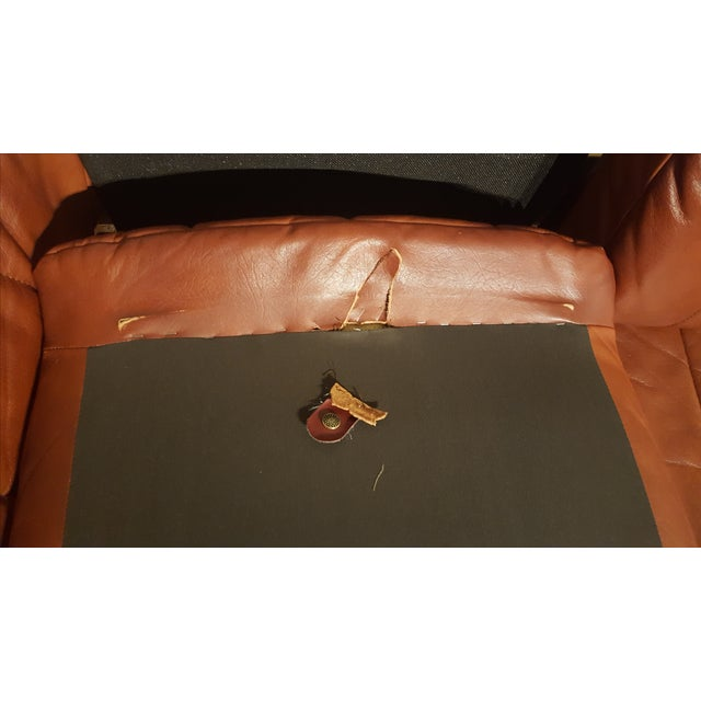 Red-Brown Leather Midcentury Modern Sofa - Image 10 of 11