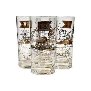 1960's Ports of Call Glass Tumblers - Set of 4