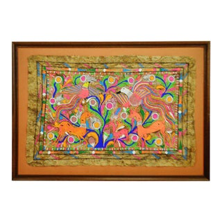 Modern Indian Folk Art Black Light Art Painting