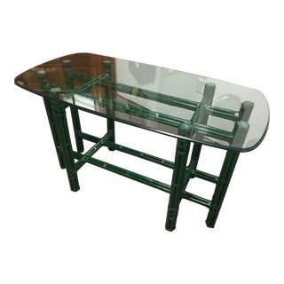 Green Rattan Console With Glass Top