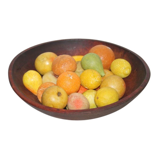 19th Century Wood Butter Bowl with Collection, 24 Pieces Stone Fruit - Image 1 of 9