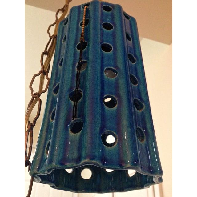 Vintage Pierced Ceramic Pendant Lights - A Pair - Image 7 of 8