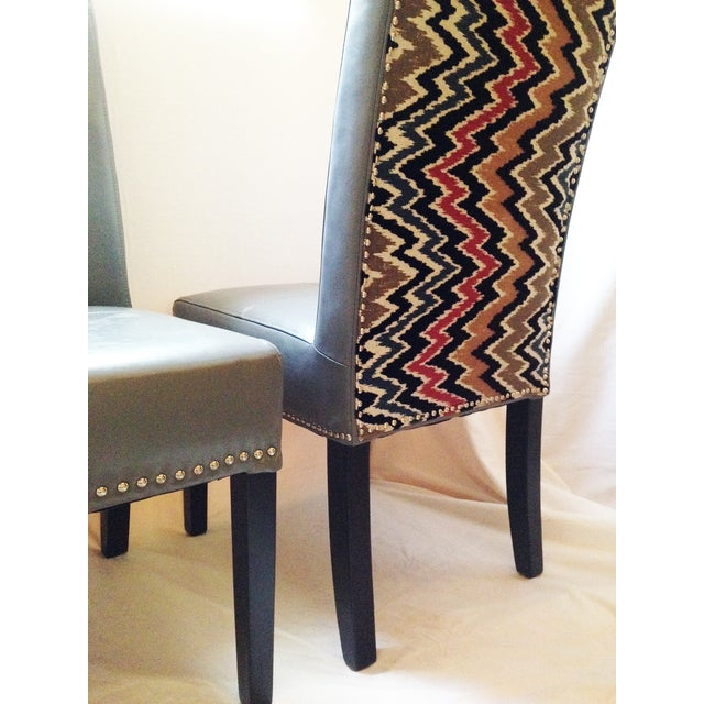Flamestitch Upholstered Gray Leather Chairs - Pair - Image 3 of 4