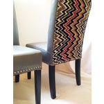 Image of Flamestitch Upholstered Gray Leather Chairs - Pair