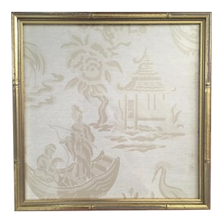 Pair of Designer Chinoiserie Pagoda Damask Wallpaper Remnants Framed in Gold Faux Bamboo Frames
