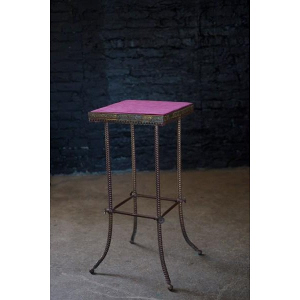 Antique 20th C. Altar Plum Velvet Table or Plant Stand - Image 2 of 9