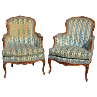 Loius XV Style Carved Walnut Upholstered Bergere - A Pair