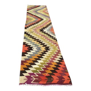 Vintage Turkish Kilim Runner Rug - 2′8″ × 12′6″