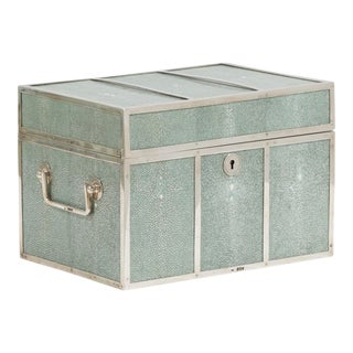 A Silver Framed Shagreen Box Stamped London 1895