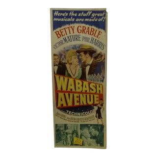 "Vintage Movie Poster ""Wabash Avenue"" 1950"