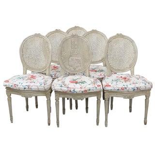 Jansen Distress Cream Painted Dining Chairs - 6