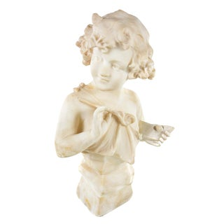 19th Century Antique Alabaster Sculpture of a Young Painter