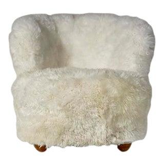 Danish Round Back Lounge Chair with Sheepskin