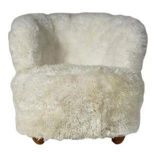 Danish Round Back Lounge Chair with Sheepskin