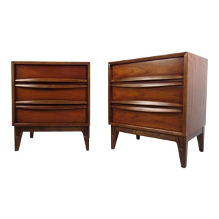 Vintage American Modern Curved Front Nightstands - a Pair