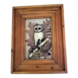 Mid-Century Owl Botanical Wood Art Sculpture in Frame