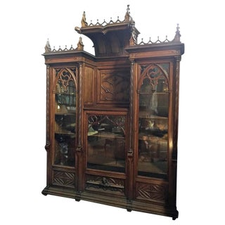 Very Impressive Gothic Revival Carved Mahogany Bookcase