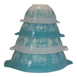 Pyrex Mid-Century Turquoise & White Mixing Bowls - Set of 4