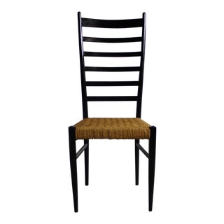 Gio Ponti Italian Modern Woven Rope Seat & Ladderback Chair