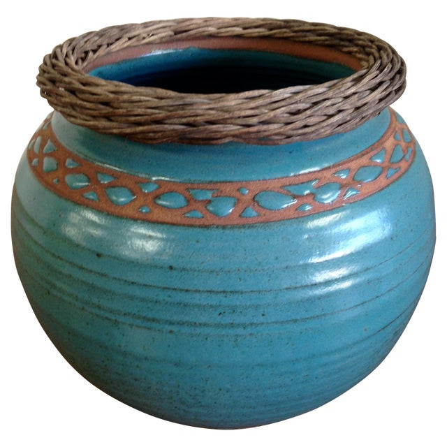 Weaved Wood And Teal Ceramic Vessel - Image 1 of 7